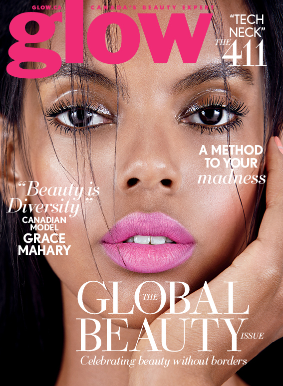 Model Grace Mahary graces the April 2015 cover of Glow Magazine, looking pretty in pink lipstick.