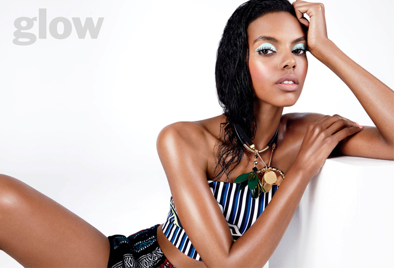 Wearing a blue eyeshadow shade, Grace Mahary looks radiant for this Glow Magazine feature.