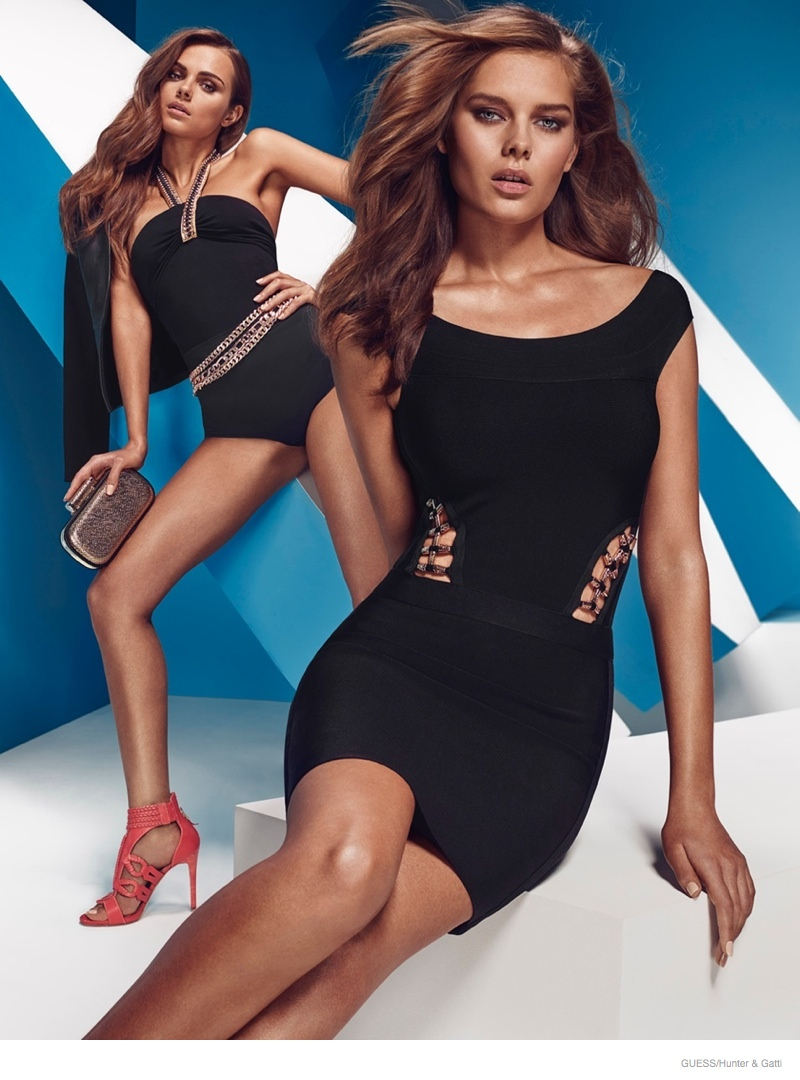 Little black dress anyone? A similar Guess by Marciano swimsuit style is also featured.