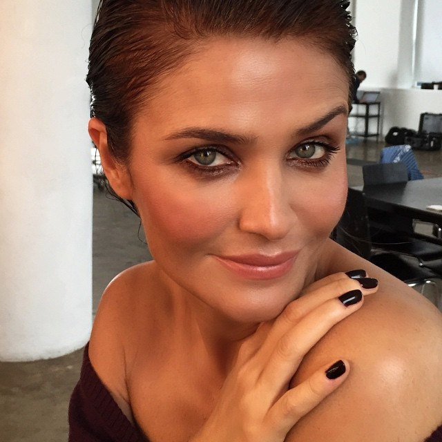 Helena Christensen shows off a beauty look in image by makeup artist Hung Vanngo