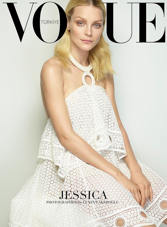 Jessica Stam wears ruffles on her Vogue Turkey cover