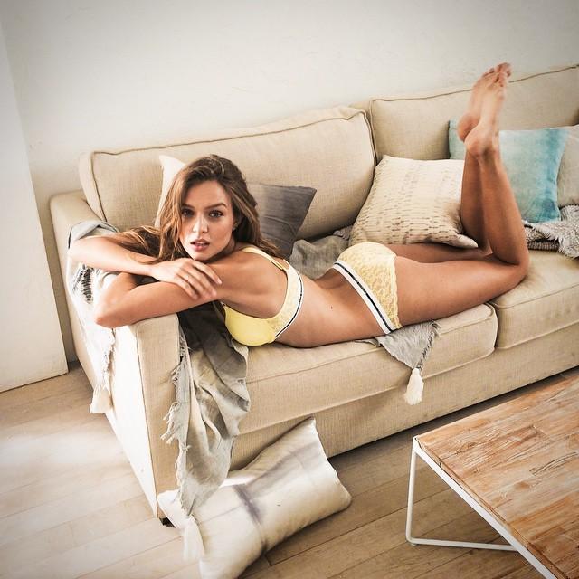 Josephine Skriver lounges on set of VS shoot