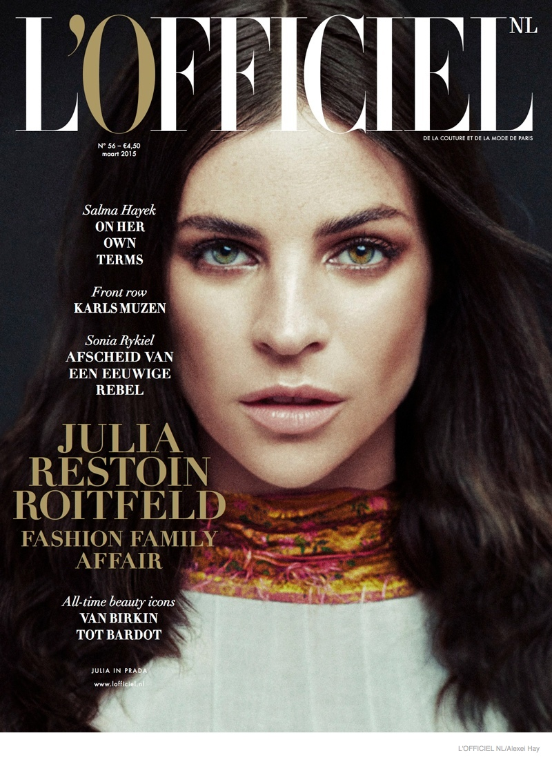 Julia Restoin Roitfeld covers the March 2015 issue of L'Officiel Netherlands wearing a high-neck look.