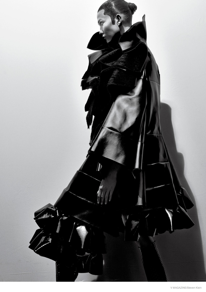 Side Profile - Karlie gives a side view of this avant garde design from Comme des Garçons