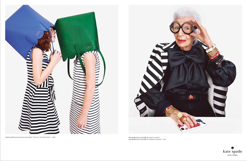 Iris Apfel fronts Kate Spade's spring-summer 2015 ad campaign wearing a striped jacket