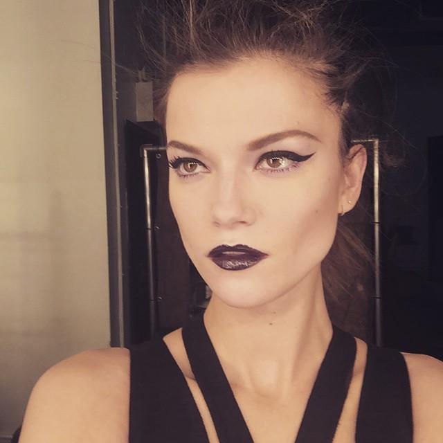 Kasia Struss shows off a dark lipstick look