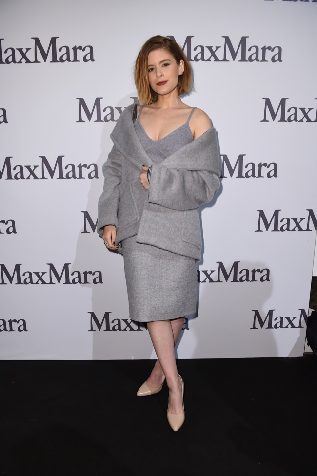 The actress wore a grey coat, jacket and nude pumps from the brand.