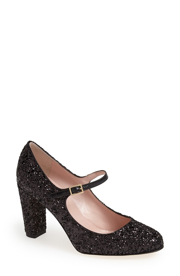 Nowadays the Mary Jane heel style comes in many variations. Kate Spade New York 'Angelique' Mary Jane Pump features a 3.5 inch heel.