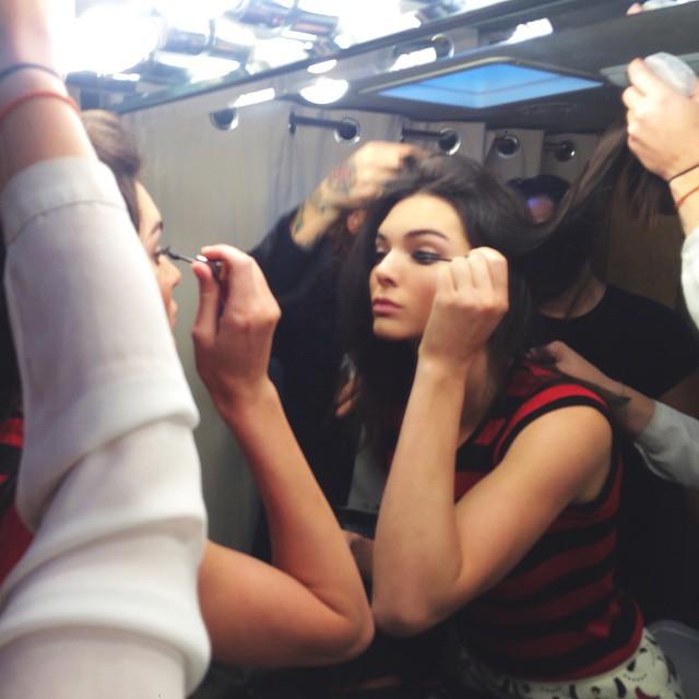 Kendall Jenner preps on set of Estee Lauder shoot