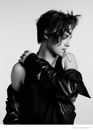 Kristen Stewart Sports Leather Jackets, T-Shirts in Wonderland Shoot