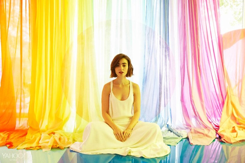 Lily Collins Wears Dreamy Fashion in Yahoo! Style Shoot