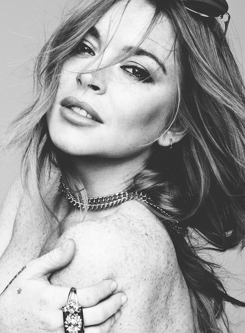 Lindsay Lohan poses topless in black and white image for Hunger Magazine photographed by Rankin.