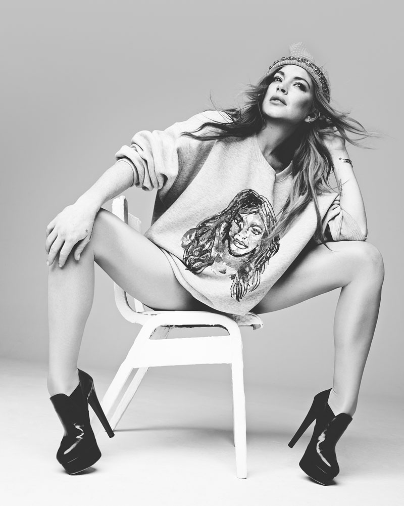 The actress wears a sweater, booties and beanie in image photographed by Rankin.