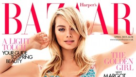 Margot Robbie wears a Stella McCartney slip dress on the April 2015 cover of Harper's Bazaar UK