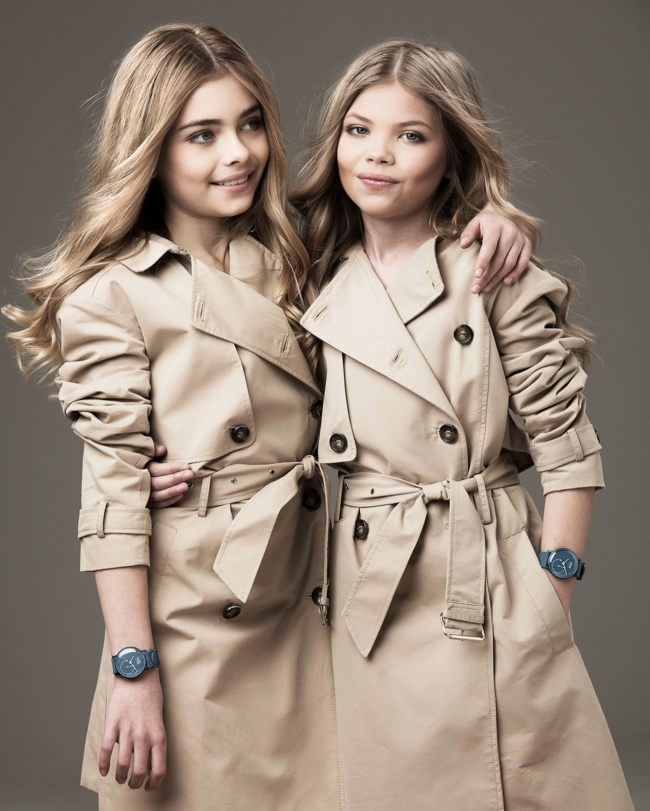 The girls recreate Cara Delevingne and Kate Moss' 'My Burberry' campaign in trench coats while sporting Withings watches.