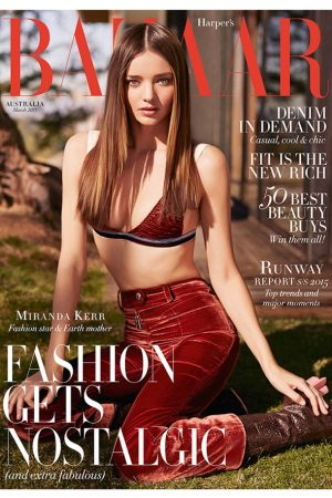 Miranda Kerr Does Straight Hair for Bazaar Australia March 2015 Cover