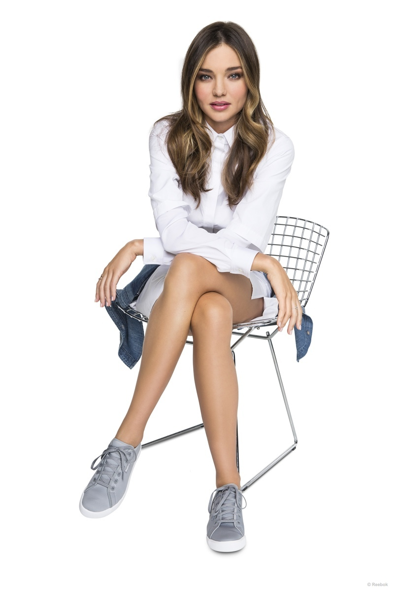 Miranda is sitting pretty in this Reebok promotional image.