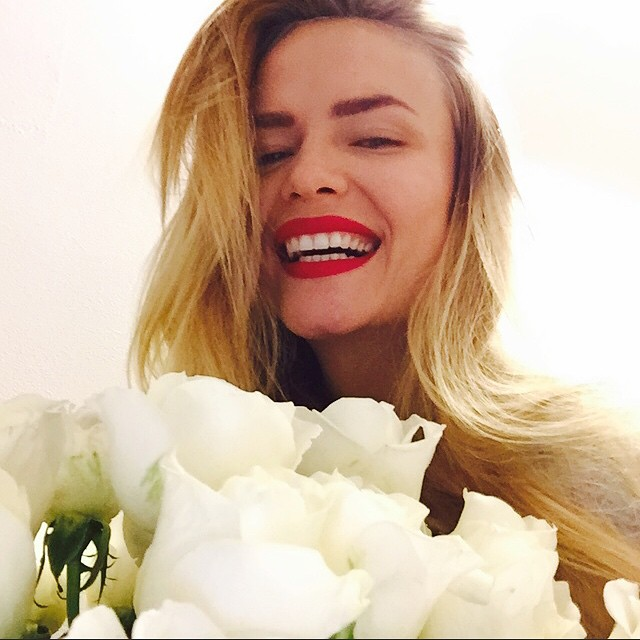 Natasha Poly gets Valentine's Day flowers