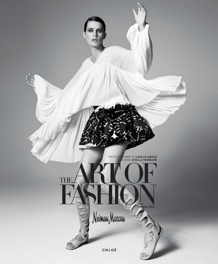 Stella Tenant wears a billowing Chloe look in the new 'Art of Fashion' campaign