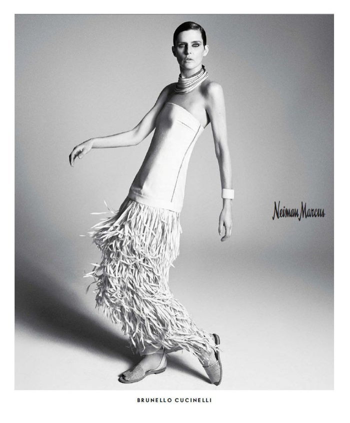 A fringed dress from Brunello Cucinelli is modeled by Stella.