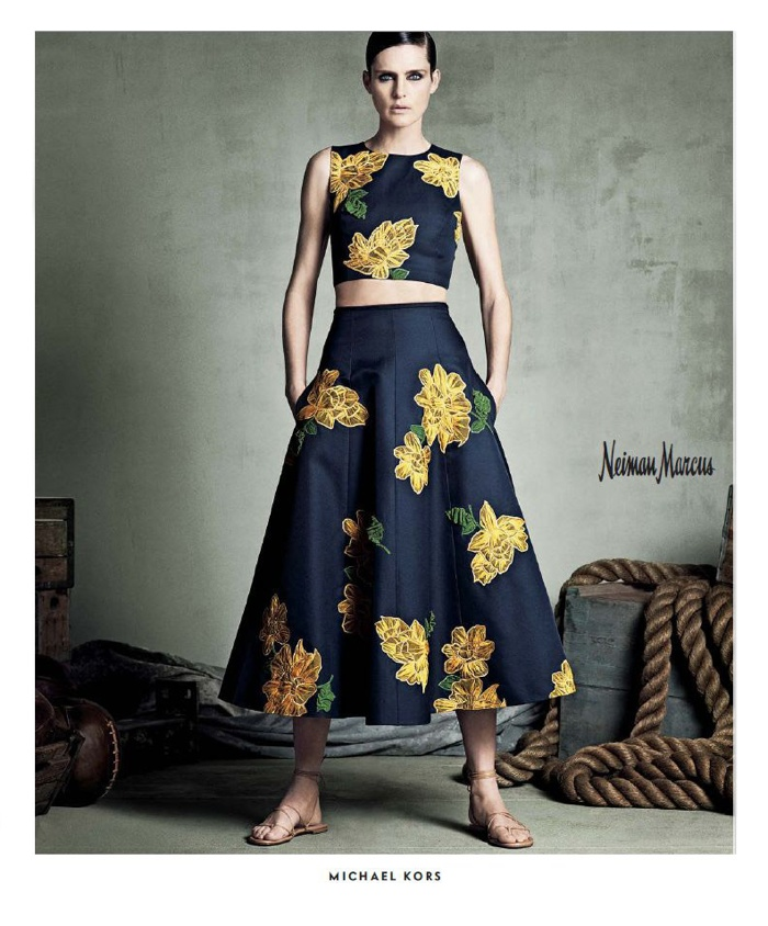 A Michael Kors top and skirt is also a focus of the campaign.