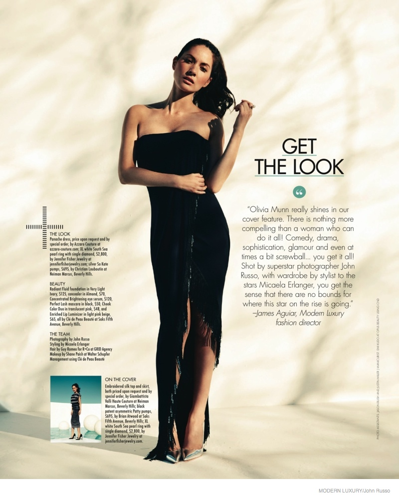 The actress wears a strapless black dress with fringe detailing from Azzaro couture in the magazine's pages.