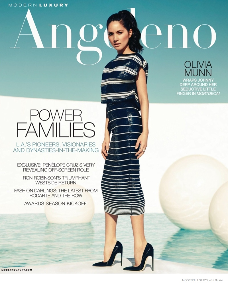 On the cover of Angeleno's February 2015 issue, Olivia wears a striped Giambattista Valli top and skirt