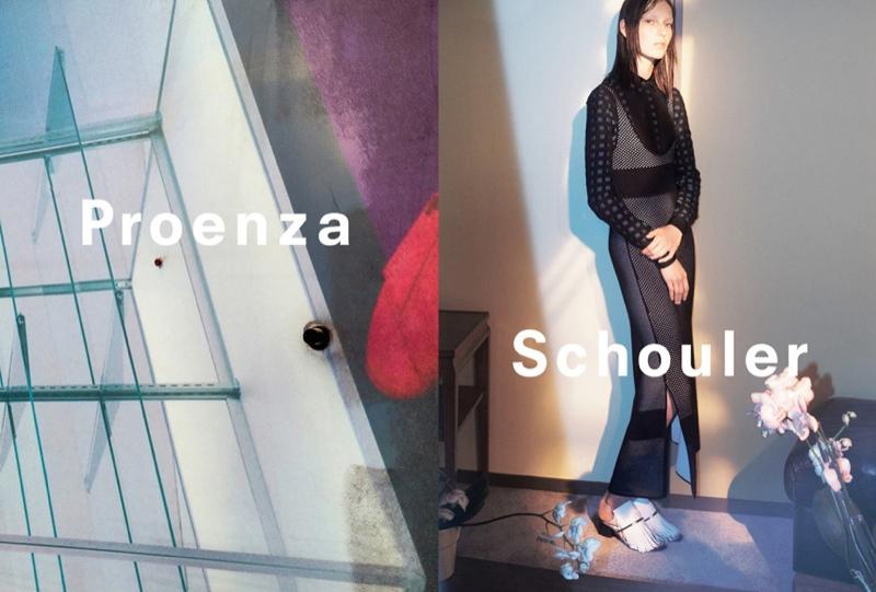 Julia wears a long-sleeve top worn underneath a grey dress in Proenza Schouler's spring advertisements.