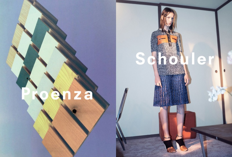 Julia wears a bowling shirt with orange and black detail paired with a blue perforated skirt.