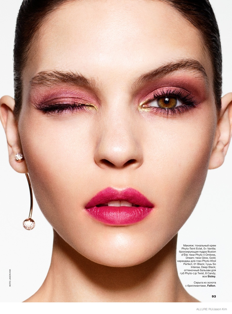 Kate B Wears Red Makeup Looks For Allure Russia By Jason Kim