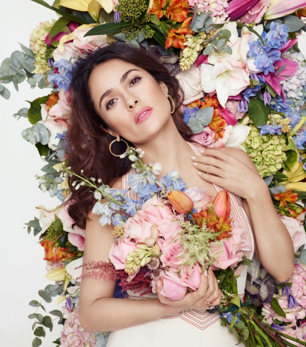 Salma Hayek Poses with Flowers for L'Officiel Paris Story