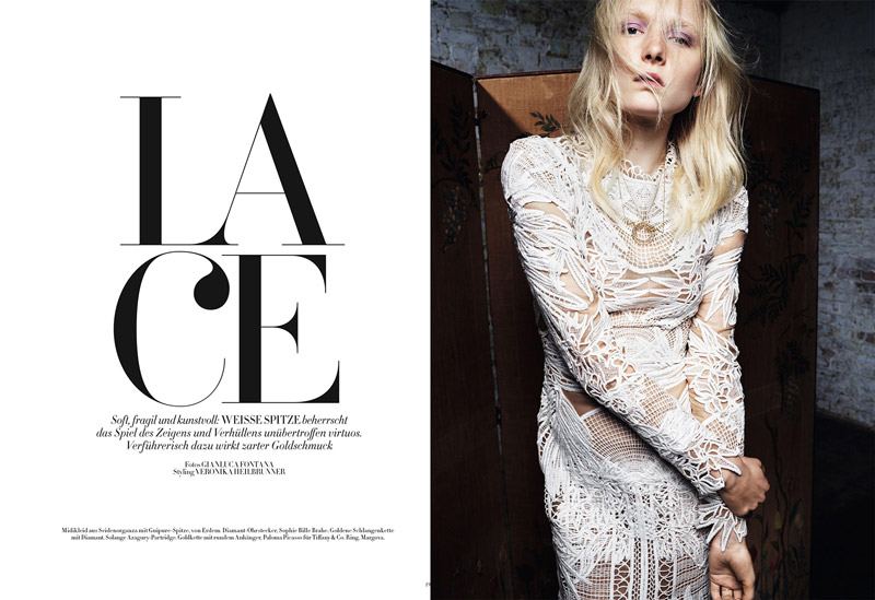 Maja Salamon Models Sexy Lace for Bazaar Germany by Gianluca Fontana