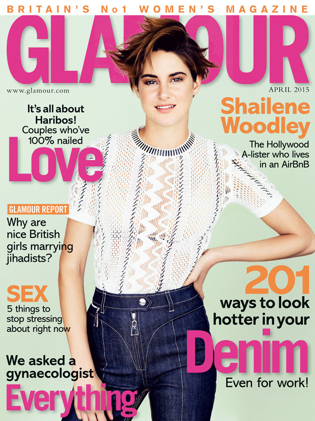 Shailene Woodley looks 1970s chic in a white top and high-waisted denim for Glamour UK April 2015 cover.