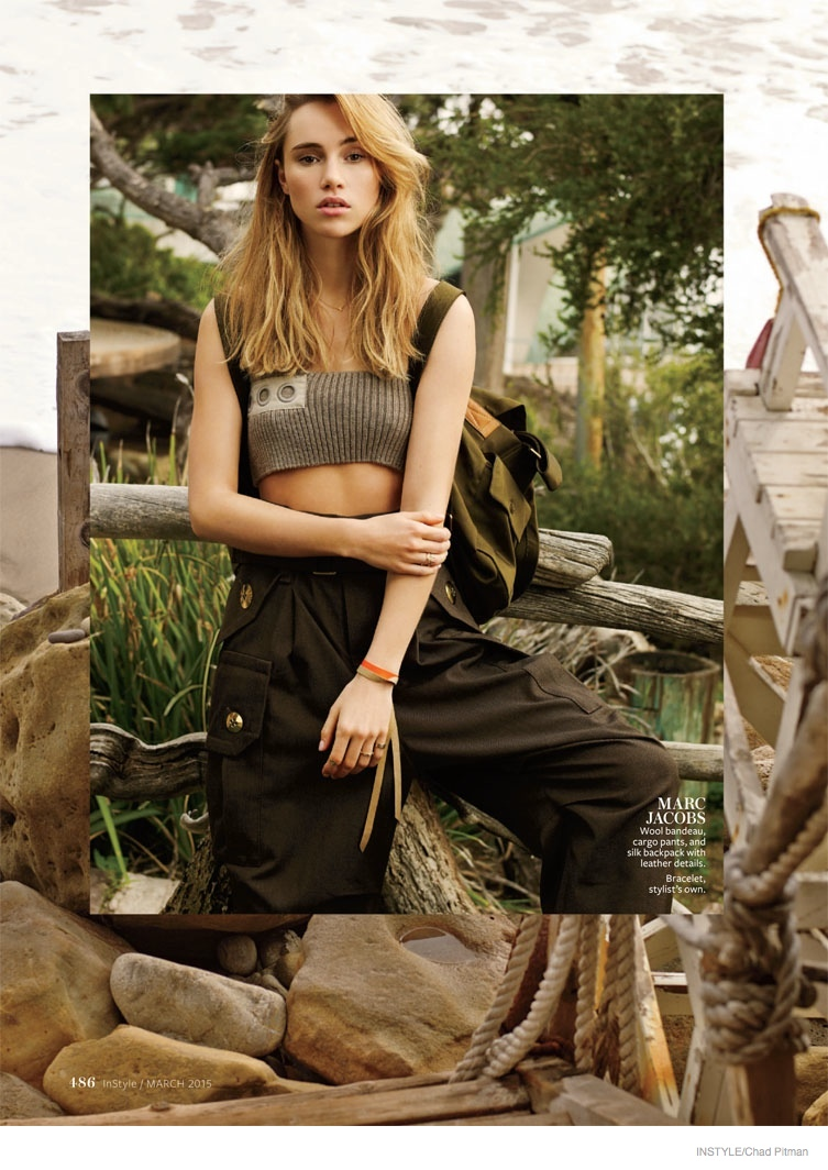 Suki Waterhouse goes back to nature in Marc Jacobs top and cargo pants