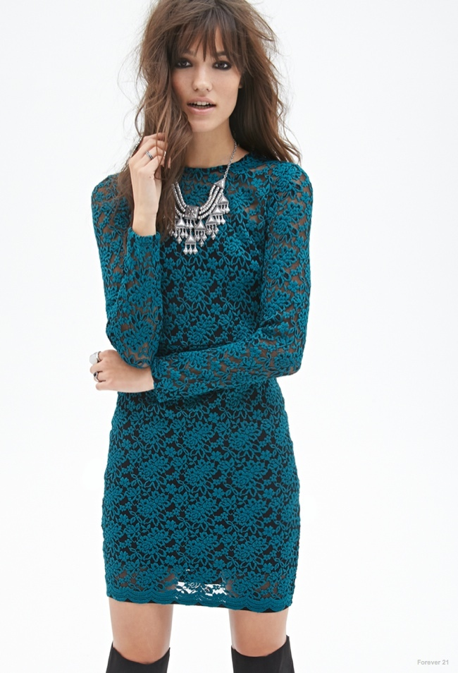 Teal Floral Embroidered Lace Dress available for $24.90