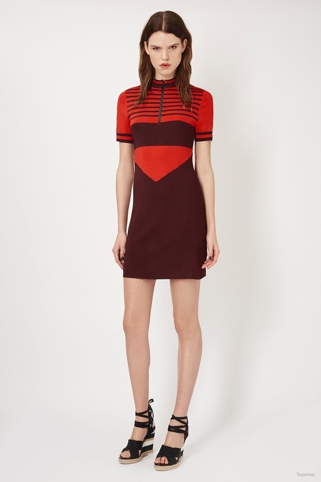 Topshop Unique Stripe Knitted Dress