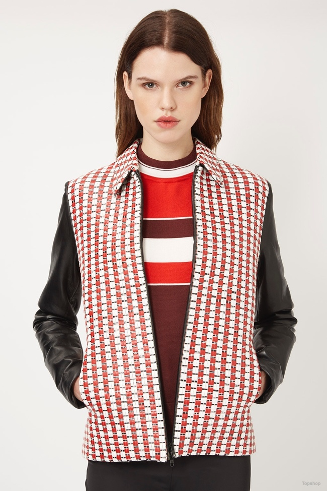 Topshop Unique Textured Leather Sleeve Jacket