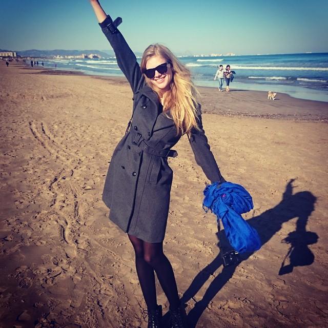 Valerie van der Graaf poses on the beach