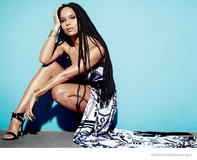 Zoe gets graphic in black and white Anthony Vaccarello X Versus Versace dress