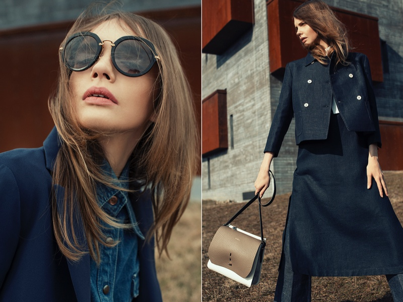 Oversized sunglasses and denim styles evoke a timeless look.