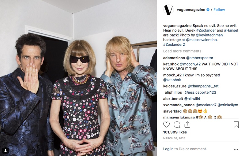 Anna Wintour with Ben Stiller as Derek Zoolander and Owen Wilson as Hansel at Valentino show. The pair walked the runway, in a big announcement for 'Zoolander' 2. Photo: instagram/Vogue