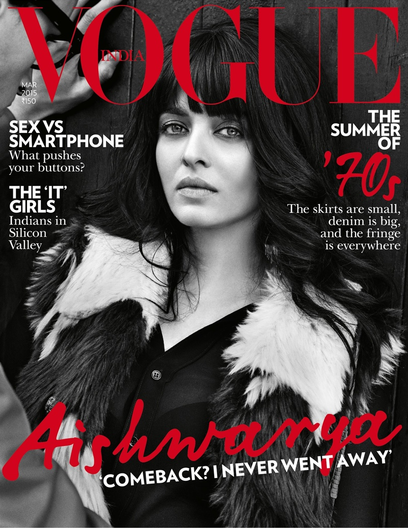 Bollywood actress Aishwarya Rai graces the March 2015 cover of Vogue India.