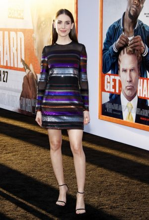 Alison Brie Shines in Striped Sequins at 'Get Hard' LA Premiere