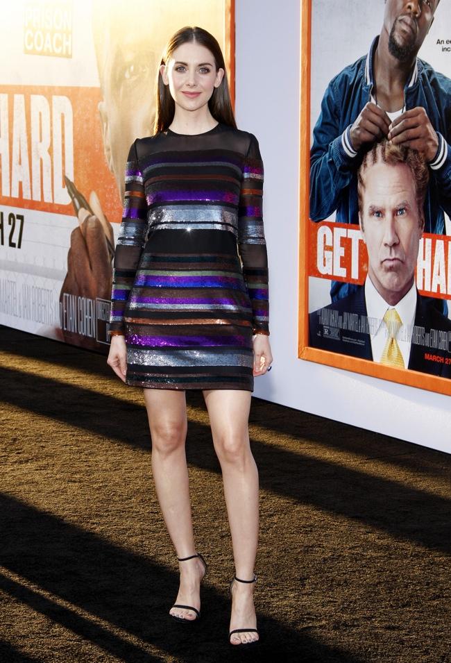 Alison Brie wears an Emilio Pucci dress at the 'Get Hard' LA premiere.