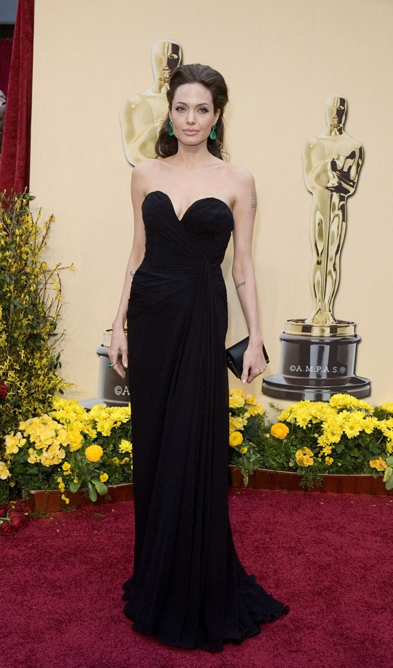 Angelina Jolie wore a black and strapless Elie Saab gown at the 81st Annual Academy Awards. Photo: Shutterstock.com