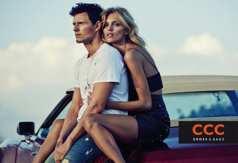 Anja Rubik poses with her husband Sasha Knezevic in CCC campaign.