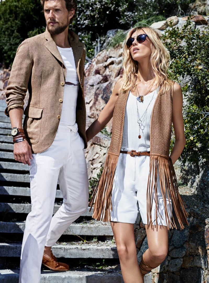 Anja Rubik With Husband Presenting Massimo Dutti's Spring 2015 Designs