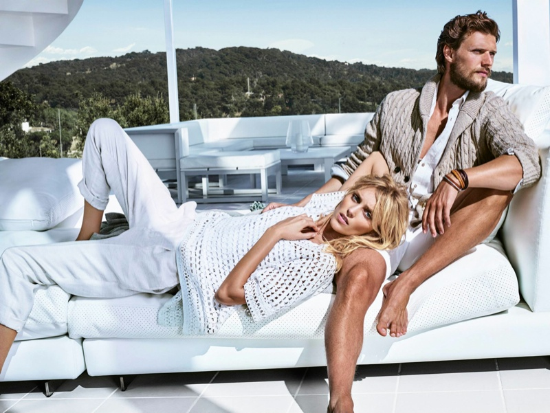 The lovebirds pose on the sea for the spring lookbook.