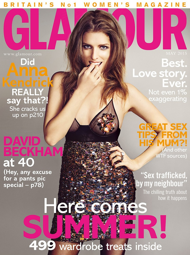 Anna Kendrick lands the May 2015 cover from Glamour UK wearing Tom Ford