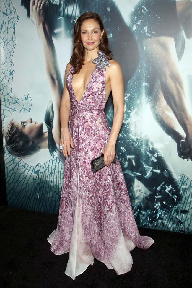 Ashley Jud wore an embellished Badgley Misckha gown in pink